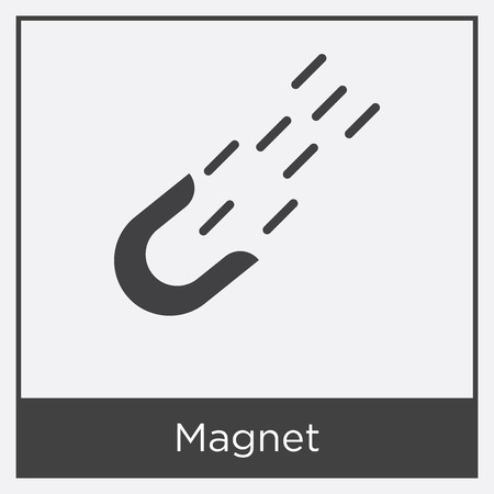 Magnet icon isolated on white background with gray frame, sign and symbol