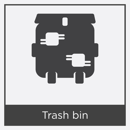 Trash bin icon isolated on white background with gray frame, sign and symbol.