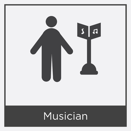 Musician icon isolated on white background with gray frame, sign and symbol
