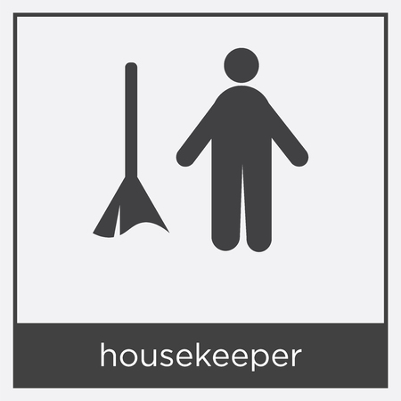 housekeeper icon isolated on white background with gray frame, sign and symbol