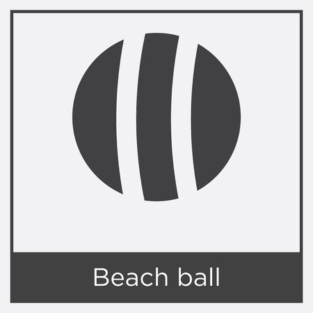 Beach ball icon isolated on white background with gray frame, sign and symbol. Illustration
