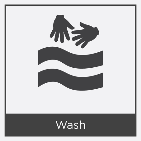 Wash icon isolated on white background with gray frame, sign and symbol.