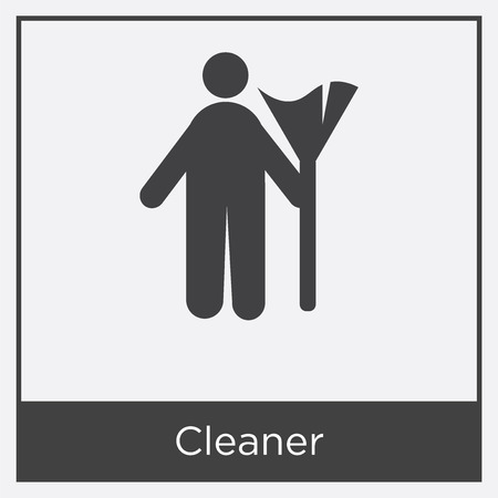 Cleaner icon isolated on white background with gray frame, sign and symbol Vektoros illusztráció