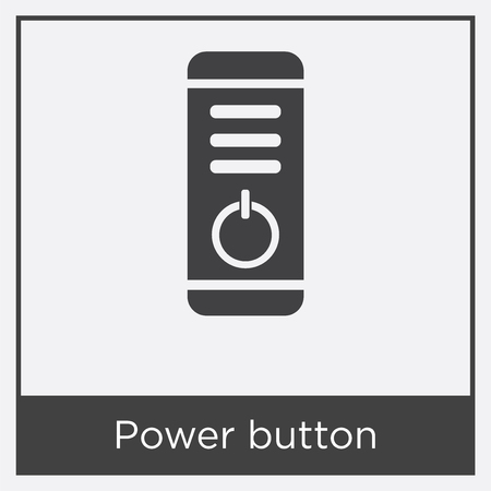 Power button icon isolated on white background with gray frame, sign and symbol.