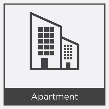 Apartment icon isolated on white background with gray frame, sign and symbol
