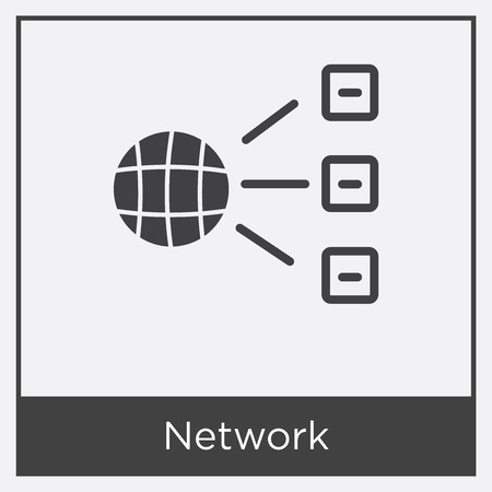Network icon isolated on white background with gray frame, sign and symbol