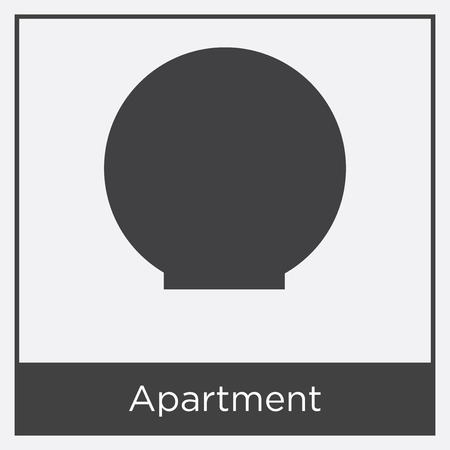 Black circle with apartment icon isolated on white background with gray frame, sign and symbol.