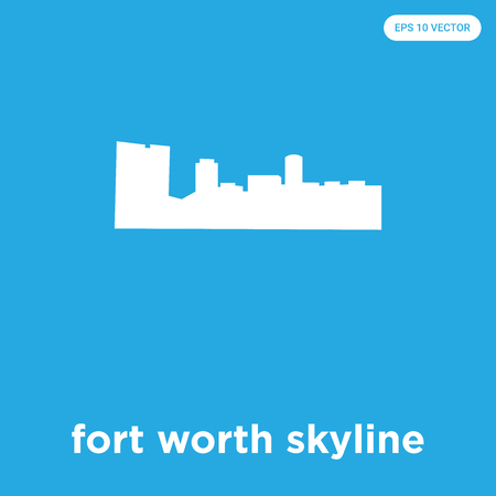 fort worth skyline vector icon isolated on blue background, sign and symbol Illustration