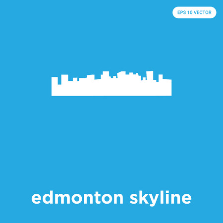 edmonton skyline vector icon isolated on blue background, sign and symbol