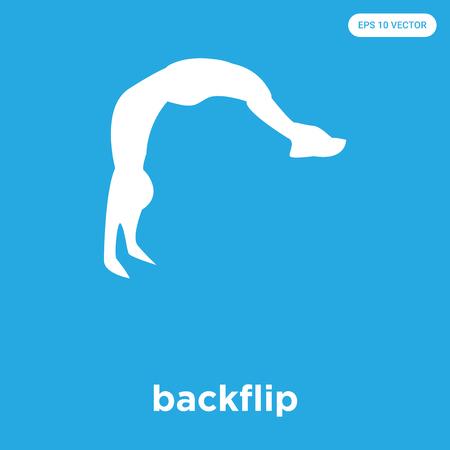 backflip vector pictogram geïsoleerd op blauwe achtergrond, teken en symbool