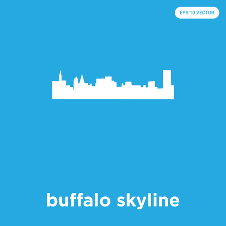 buffalo skyline vector icon isolated on blue background, sign and symbol