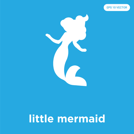 little mermaid vector icon isolated on blue background, sign and symbol