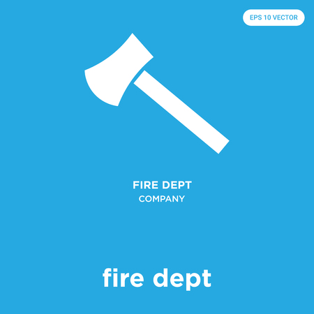 fire dept vector icon isolated on blue background, sign and symbol