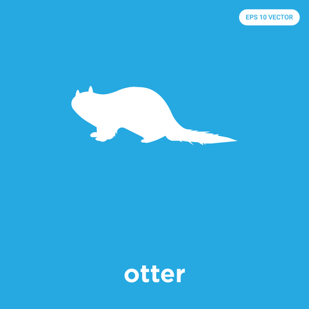 otter vector icon isolated on blue background, sign and symbol Illustration