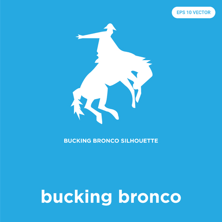 bucking bronco vector icon isolated on blue background, sign and symbol