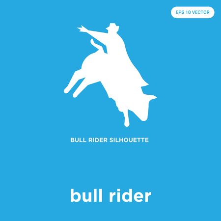bull rider vector icon isolated on blue background, sign and symbol Illustration
