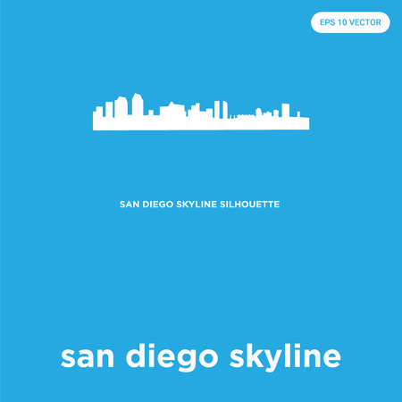 san diego skyline vector icon isolated on blue background, sign and symbol Ilustrace