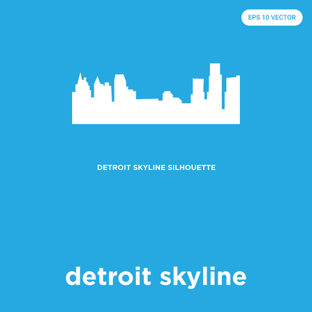 detroit skyline vector icon isolated on blue background, sign and symbol Illustration