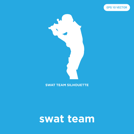 swat team vector icon isolated on blue background, sign and symbol
