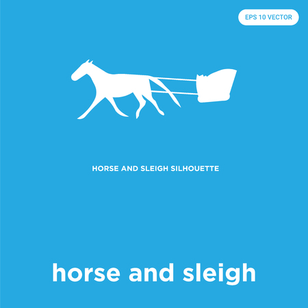 horse and sleigh vector icon isolated on blue background, sign and symbol Illustration