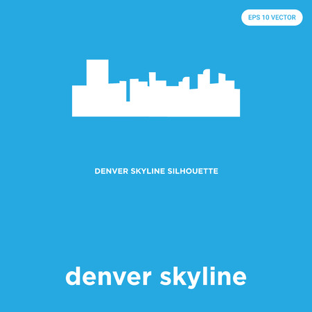 denver skyline vector icon isolated on blue background, sign and symbol