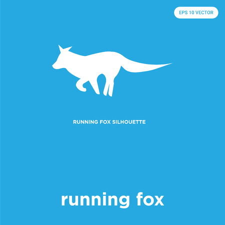 running fox vector icon isolated on blue background, sign and symbol