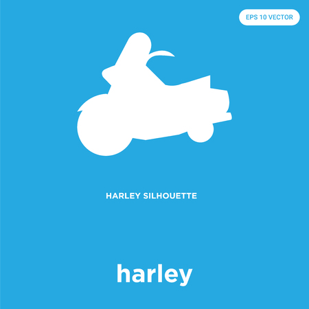 harley vector icon isolated on blue background, sign and symbol