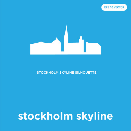 stockholm skyline vector icon isolated on blue background, sign and symbol