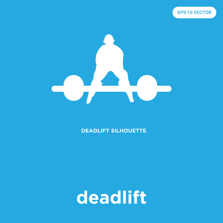 Deadlift vector icon isolated on blue background, sign and symbol