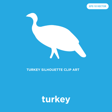 Turkey vector icon isolated on blue background, sign and symbol