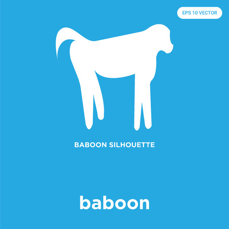 baboon vector icon isolated on blue background, sign and symbol Illustration