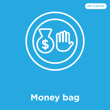 Money bag vector icon isolated on blue background, sign and symbol Vectores