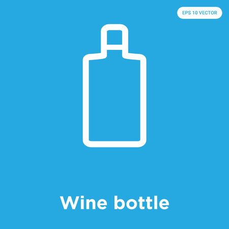 Wine bottle vector icon isolated on blue background, sign and symbol 일러스트