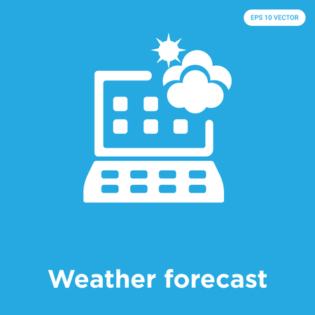 Weather forecast vector icon isolated on blue background, sign and symbol