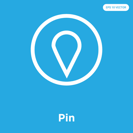 Pin vector icon isolated on blue background, sign and symbol Vettoriali