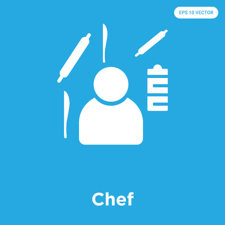 Chef vector icon isolated on blue background, sign and symbol