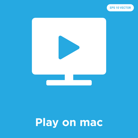 Play on mac vector icon isolated on blue background, sign and symbol