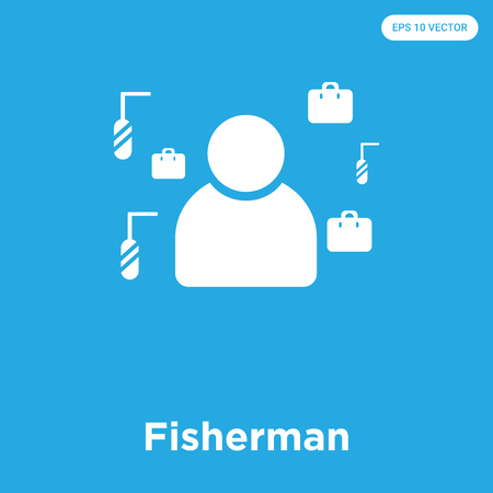 Fisherman vector icon isolated on blue background, sign and symbol Ilustração