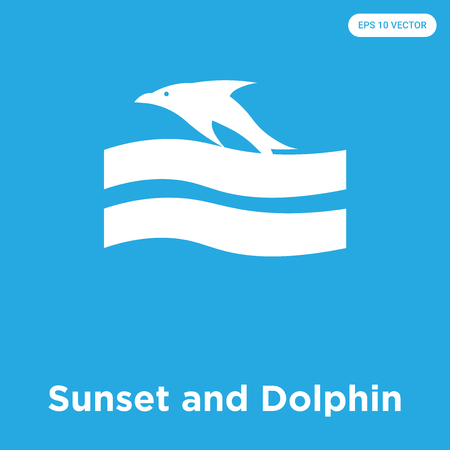 Sunset and Dolphin vector icon isolated on blue background, sign and symbol