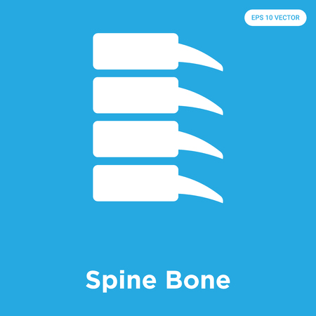 Spine Bone vector icon isolated on blue background, sign and symbol