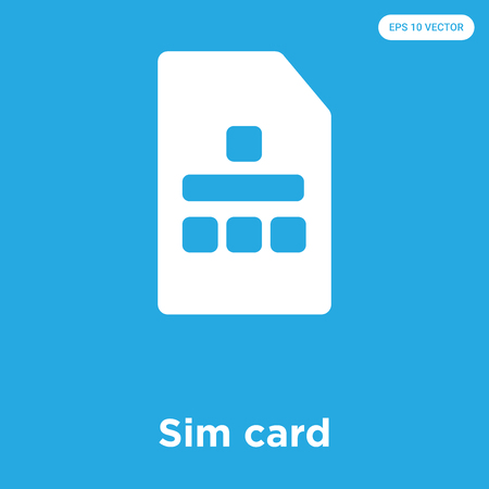 Sim card vector icon isolated on blue background, sign and symbol Illustration