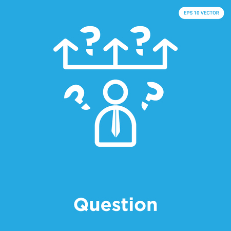 Question vector icon isolated on blue background, sign and symbol