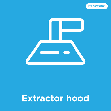 Extractor hood vector icon isolated on blue background, sign and symbol