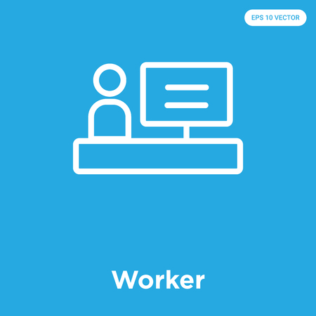 Worker vector icon isolated on blue background, sign and symbol.