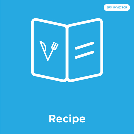 Recipe vector icon isolated on blue background, sign and symbol