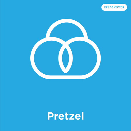Pretzel vector icon isolated on blue background, sign and symbol Illustration