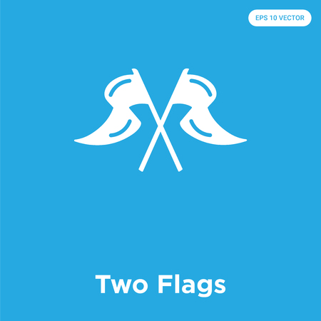 Two Flags vector icon isolated on blue background, sign and symbol