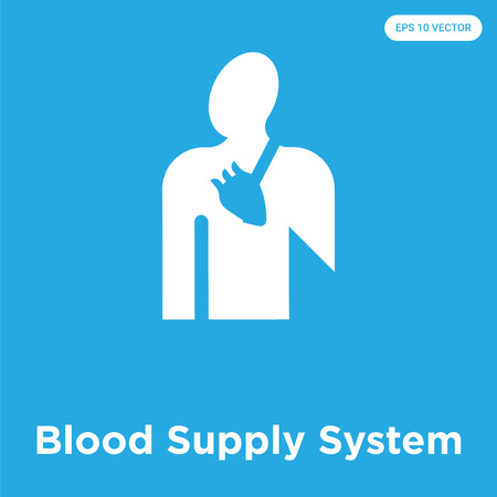 Blood Supply System vector icon isolated on blue background, sign and symbol