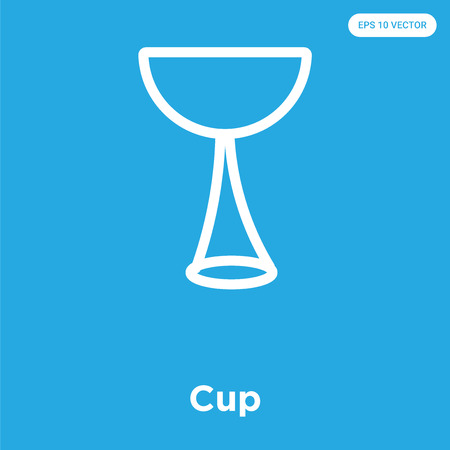 Cup vector icon isolated on blue background, sign and symbol