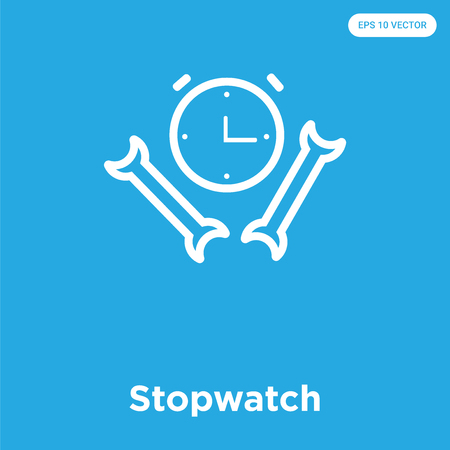 Stopwatch vector icon isolated on blue background, sign and symbol